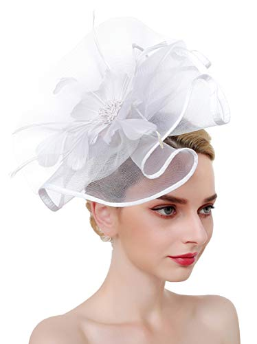 - Z&X Fascinator Hat Flower Feather Mesh Net Veil Derby Hat with Clip Hairband for Women White