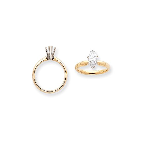 - 14k Two-Tone 1/3ct. V-End Comfort-Fit Marquise Solitaire Mounting