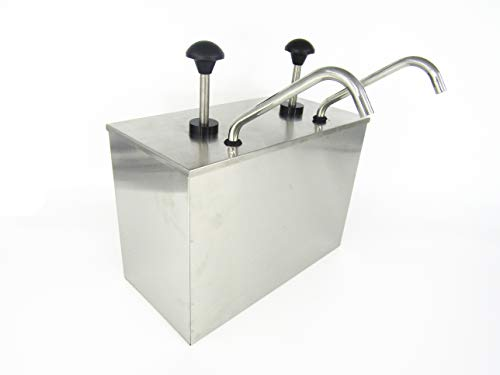 KUNHEWUHUA 2 Bucket Sauce Dispenser Pump Stainless Steel Condiment Pump Station for Salad Jam Seasoning Sauce Squeeze 2 gal (2 Bucket) by KUNHEWUHUA (Image #1)