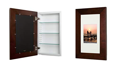 14x24 Espresso Concealed Medicine Cabinet (Extra Large), a Recessed Mirrorless Medicine Cabinet with a Picture Frame Door Brown Cabinet Picture Frame
