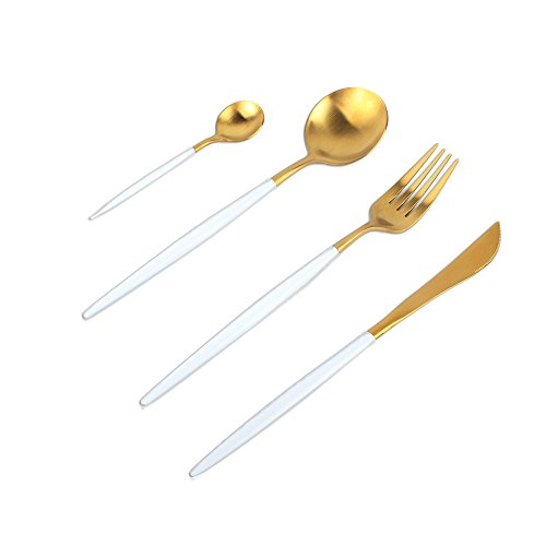 UMCORP RM Customized Stainless Steel Flatware Set with Fork Spoons Knife Teaspoon for Home Kitchen Restaurant Hotel (Matt Gold) white and black-gold color cutlery Golden flatware set (White) from UMCORP