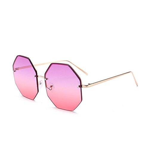 Unas C4 Sol Sin De Pink De Lujo Grandes Gold De Sombras Gafas Sol Gafas C7 Octagon Viajes De Uv400 Reborde Purple TIANLIANG04 Señoras Oro Enormes Violeta Mujer 5qgFX