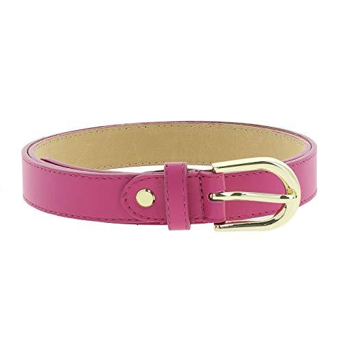 FASHIONGEN - Women genuine Italian leather belt with golden Buckle, HACENA - Fuchsia, 105 cm (41.30 in) / Trousers 17 to 20