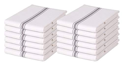 Cotton Clinic Scandia 16x26 Kitchen Dish Tea Towels Charcoal White - 12 Pack