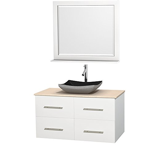 Wyndham Collection Centra 42 inch Single Bathroom Vanity in Matte White, Ivory Marble Countertop, Altair Black Granite Sink, and 36 inch Mirror