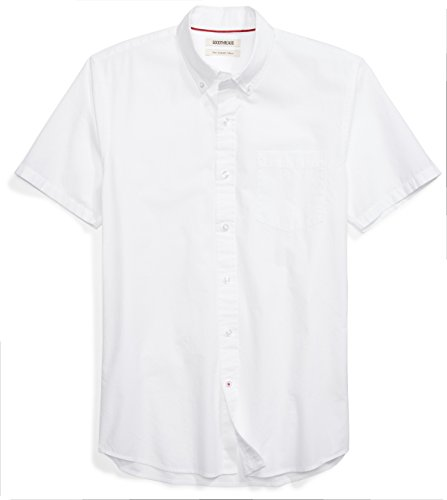- Goodthreads Men's Slim-Fit Short-Sleeve Solid Poplin Shirt, White, Medium
