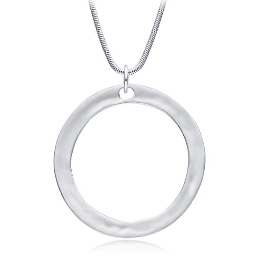 Simple Large Circle Round Pendant Necklace for (Silver Circle Necklace)