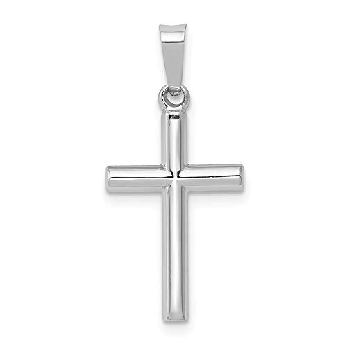 14k White Gold Latin Cross Religious Pendant Charm Necklace Fine Jewelry Gifts For Women For Her