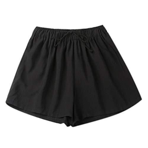 iHPH7 Yoga Pants Women's Power Yoga Pants Control Workout Yoga Capris Pants Leggings Casual Loose Pants Elastic Waist Summer Slim Lady Short (M,Black)