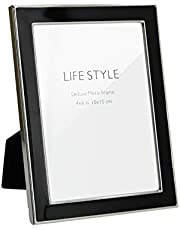 Afuly Black Silver Picture Frame 4x6 Simple Metal Photo Frame Modern Decor Wedding Gifts for Couple