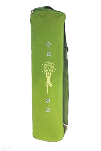Large Yoga Mat Bag by Meru – The Original SMART Yoga Bag - Better By Design. Fits Most Mats – 3 Storage Pockets – Easy Access Zipper - Dual Air-flow - Green