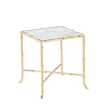 Burnham Home 17026 Tristan Side Table, Gold Leaf & Marble