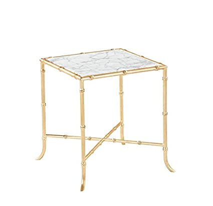 Burnham Home 17026 Tristan Side Table, Gold Leaf U0026 Marble