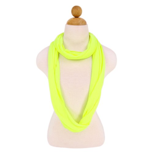 Elegant Solid Color Infinity Loop Jersey Scarf, Neon Yellow