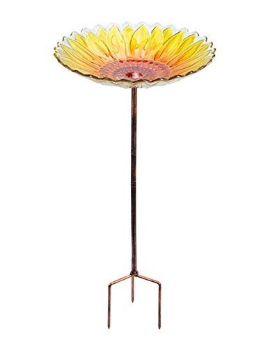 MUMTOP Glass Bird Bath,Garden Outdoor Birdbaths Birdfeeder with Metal Stake Sunflower