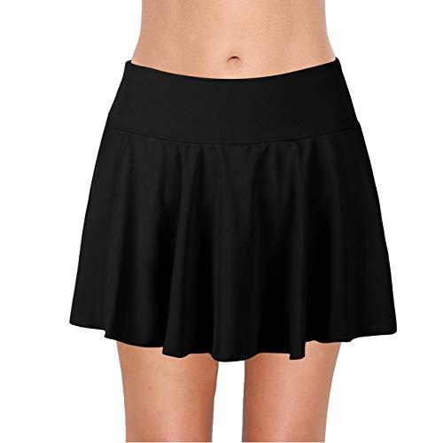 URqvick Women's Swimming Skirt with Briefs Solid Ruffle Skirted Waistband Sports Ruched Tankini Bottom Black