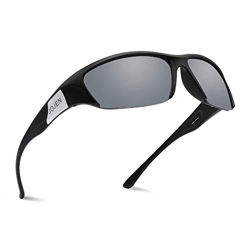 92d16110a54 JOJEN Polarized Sports Sunglasses for Men Women Cycling Running Golf JE002  (Black Frame Mercury REVO Lens)