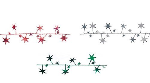 Red, Green & Silver Foil Star Garland/Christmas Decorations/
