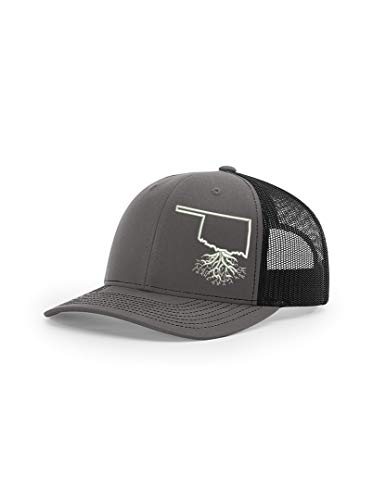 - Wear Your Roots Snapback Trucker Hat (One Size - Adjustable, Oklahoma Charcoal/Black Mesh)