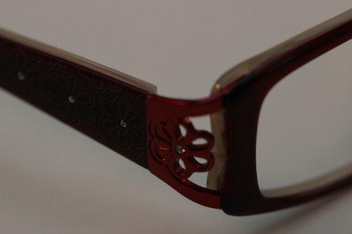 Burgundy Women's Optical Frame with Rhinestones, Floral Design, - Frames Sunoptic