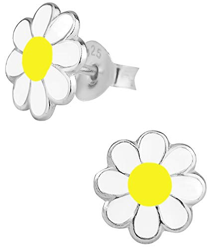 Hypoallergenic Sterling Silver Daisy Flower Stud Earrings for Kids (Yellow/White)