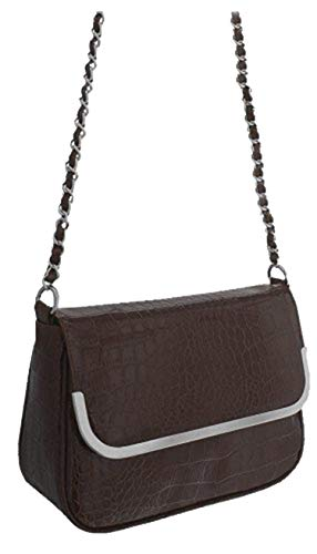 EyeCatch - Chloe Croc Effect Faux Leather Patent Shoulder Bag Brown