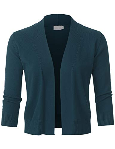 JSCEND Womens Classic 3/4 Sleeve Open Front Cropped Bolero Cardigan Teal M ()