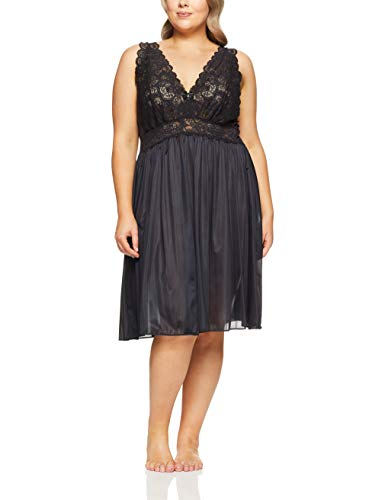 Shadowline Women's Plus Size Silhouette Lace Bodice Sleeveless Waltz Gown, Black 1X