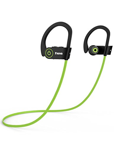 Green Headphone Earphone (Bluetooth Wireless Headphones, Fnova Siri Activated Sports Waterproof Sweatproof IPX7 Earphones HD Stereo V4.1 Earbuds for Gym Running Workout, 8 Hour Noise Canceling Headsets with Built-in Mic, Green)