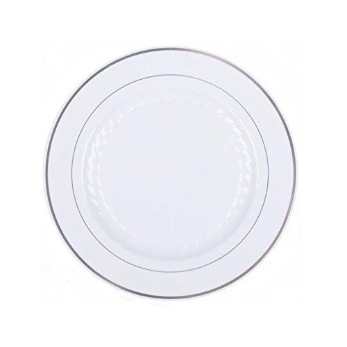 Fineline Settings 506-WH 6-Inch Silver Splendor White Plastic Plates With Silver  sc 1 st  Cortigianos & Fineline Settings 506-WH 6-Inch Silver Splendor White Plastic ...
