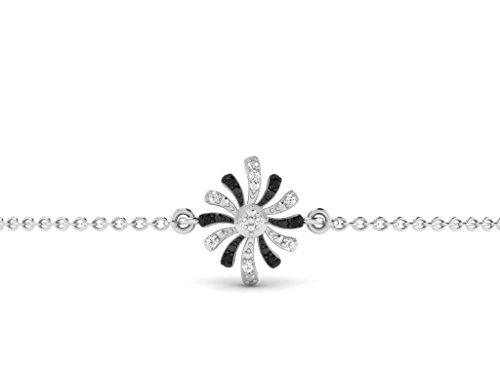 Or Blanc 18 ct Bracelet Diamant en forme de fleur, 0.03 Ct Diamant, GH-SI, 1.37 grammes.