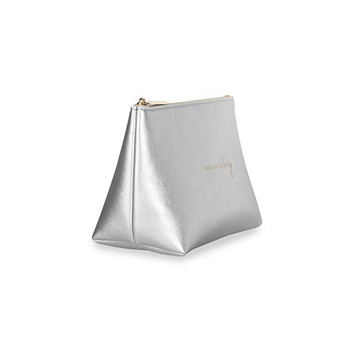 Katie Loxton Mia Travel Pouch Kiss and Make-Up Metallic Silver Women's Faux Leather Make-Up Case