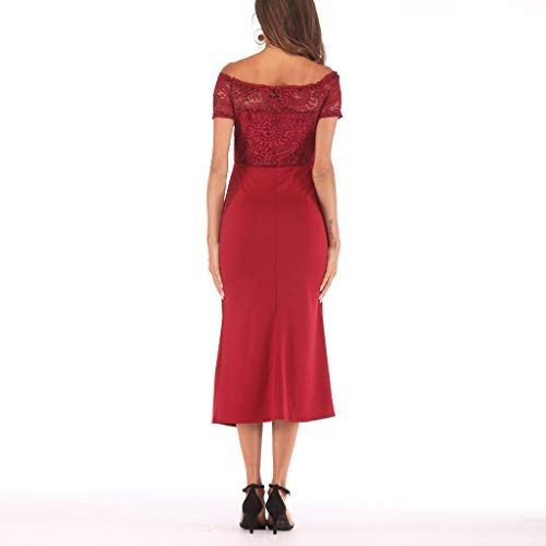 One Shoulder Lace,Youngh Fashion Women One Shoulder Lace Splice Off Shouder Casual Long Dress Red by Youngh Dress (Image #1)