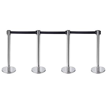 Swell 4 X Queue Barrier Belt Stanchion Retractable Crowd Control Barriers Stainless Steel Queue Security Pole With 2M Railing Belt Home Interior And Landscaping Pimpapssignezvosmurscom