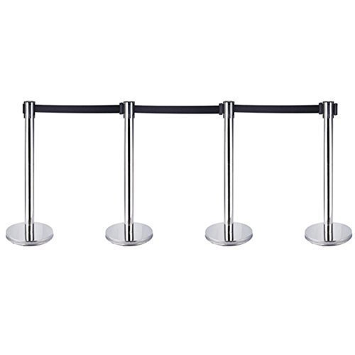4 X Queue Barrier Belt Stanchion Retractable Crowd Control Barriers Stainless Steel Queue Security Pole with 2m Railing Belt Iglobalbuy Co ltd