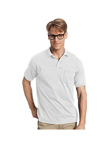 Hanes Adult Comfortblend Ecosmart Jersey Polo With Pocket (White) (2X)