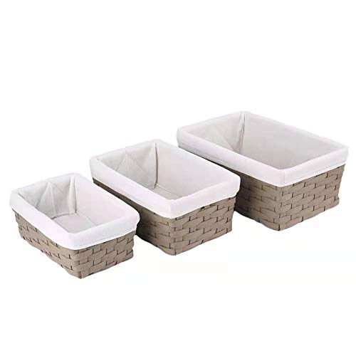 (Hosroome Handmade Bathroom Storage Baskets Set Shelf Baskets with Liner Woven Decorative Home Storage Bins Decorative Baskets Organizing Baskets Nesting Baskets(Set of 3,Brown))