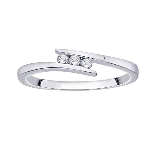 IGI Certified Diamond Accent Three Stone Bypass Ring in 10K White Gold (0.08 Cttw)