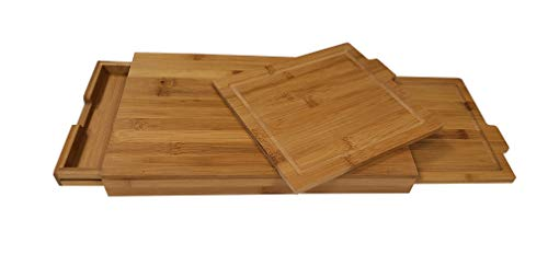 Adorn Home Essentials 4 pc. Bamboo kitchen cutting board set with 3 built-in compartment drawers, 2 extra removable cutting boards and 1 slide-out scrap tray |Carving,chopping butcher, food prep (Four Compartment Tray)
