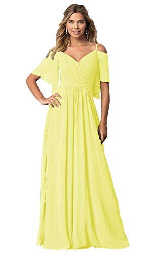KKarine Women's V-Neck A Line Off The Shoulder Sash Pleated Chiffon Long Party Dress Floor Length Evening Gown with Sleeves Yellow Size ()