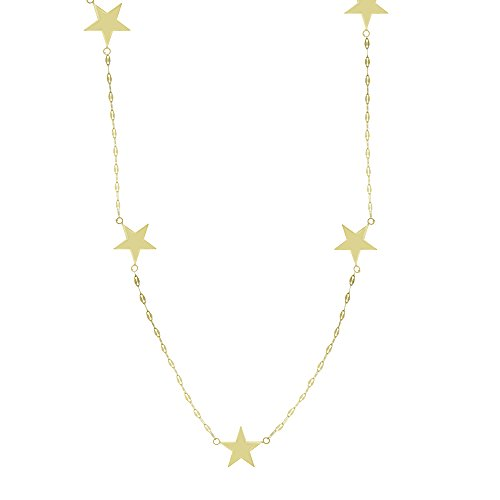 GOLD NECKLACE, 14KT GOLD ADJUSTABLE .SEVEN STAR STAT NECKLACE-FLAT MARINER CH ()