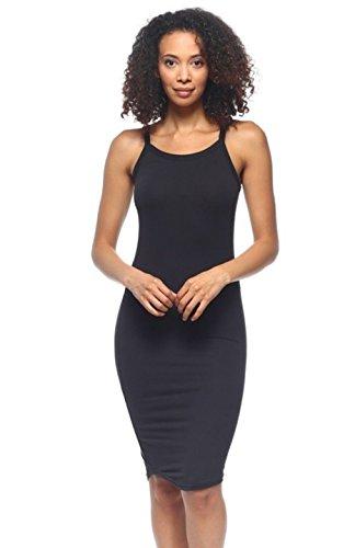 2LUV Women's Slim Fit Sleeveless Cami Bodycon Dress Black L