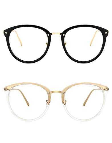 TIJN Vintage Optical Eyewear Non-prescription Eyeglasses Frame with Clear Lenses (J, 52-18-140)