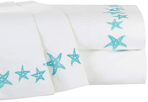 Price comparison product image Tackle & Tides Embroidered Starfish Microfiber Sheet Set Twin White/Teal