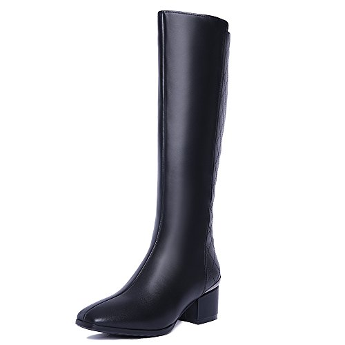 Nine Seven Genuine Leather Women's Square Toe Chunky Heel Zip Handmade Knee High Boot Black
