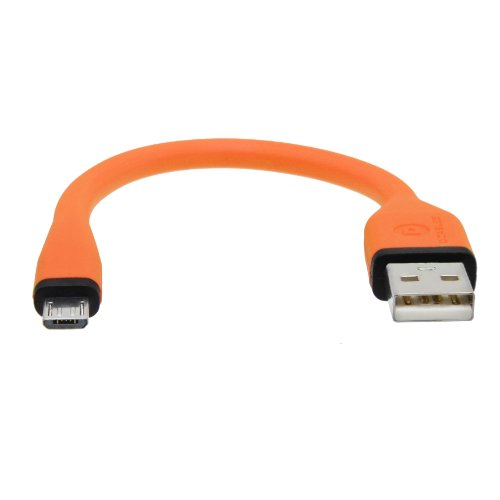 (dCables Bendy & Durable Short Micro USB Charging Cable - 7 Inch - Orange - For Android)
