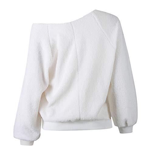 Fr Spalla Tops Lunga ulein a Autunno Manica Pullover Maglione Felpa Inverno Bluse Maglie Fox Donna Plush Moda Cime e Sweater Obliquo wfgprwWnq