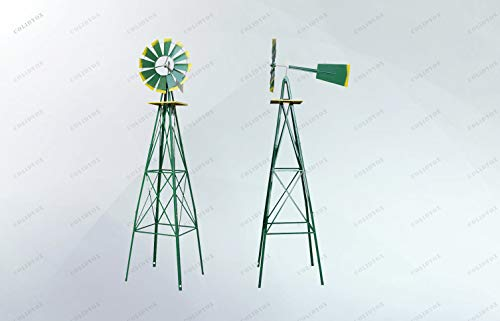 8' Decorative Windmill - COLIDYOX>8ft Ornamental Decorative Garden Windmill Weather Wind Vane-Galvanized w/Tips Weather Resistant, Made of Durable Steel with a 4 Leg Design, Beautiful Decorative Piece, Weather Resistant desi