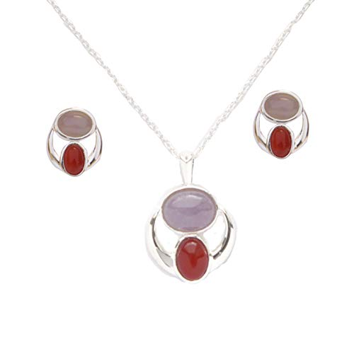 Sterling Silver Purple Jade and Carnelian Cabochon Earrings and Necklace Set