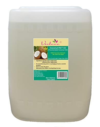 Verdana Coconut MCT Oil – aka Fractionated Coconut Oil – 5 Gallon Bulk Size – Easy Pour – 100% from Coconuts – No Palm Oil Used – Food Grade – True MCT with only C8 and C10 – Great Carrier Oil